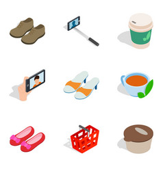 Acquisition icons set isometric style vector