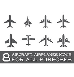 Aircraft or Airplane Icons Set Collection vector
