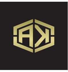 Ak logo monogram with hexagon shape and piece vector
