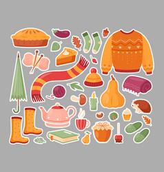 autumn set stickers vector image