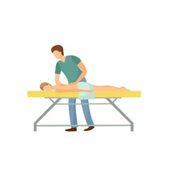 Back massage in beauty salon physiotherapy concept vector