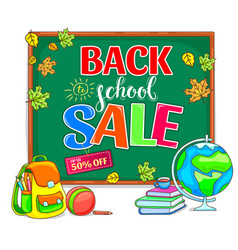 back to school sale with school board vector image
