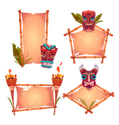 bamboo frames with tiki mask parchments and torch vector image
