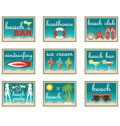 Beach set icons vector image