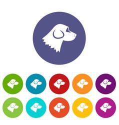 Beagle dog set icons vector