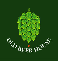 beer hop logo brewery old beer house label on vector image