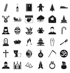 bible icons set simple style vector image