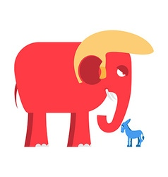 Big Red Elephant and little blue donkey symbols of vector image