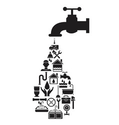 Black silhouette house with faucet with drop vector