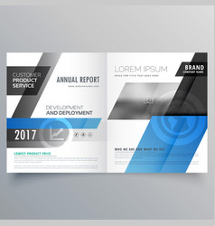 Blue business bifold brochure design template vector