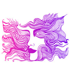 bright colorful surreal psychedelic face with vector image