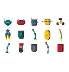 Bundle robots accessories technology set icons vector