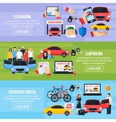 Carsharing Banners Set vector