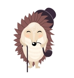 cartoon gentleman hedgehog isolated on the vector image