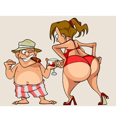 cartoon woman with big ass in a bathing suit vector image