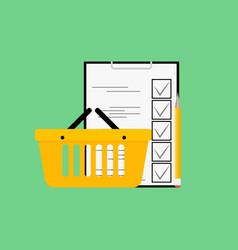 Checklist purchase in food shop vector