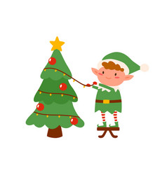 childish elf decorating christmas tree flat vector image