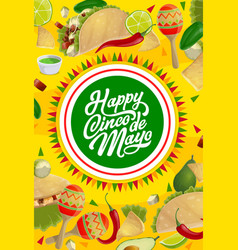 Cinco de mayo mexican holiday food and maracas vector