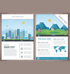 City brochure with urban landscape and suburb vector