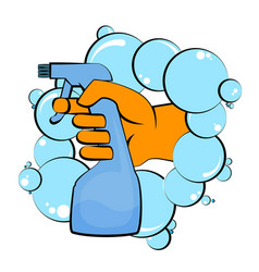 cleaning spray in hand vector image