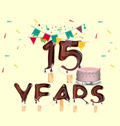 colorful 15 years anniversary design card vector image