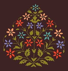 Colorful symmetric blooming plant with flowers vector