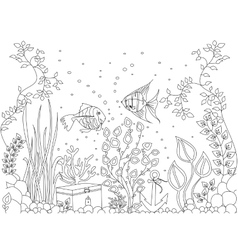 Coloring seabed fish vector
