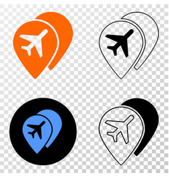 composition of gradiented dotted airport map vector image