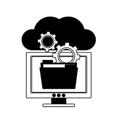computer with folder in cloud in black and white vector image