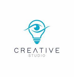 Creative eye icon bulb with eye logo design vector