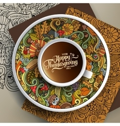 Cup of coffee and Thanksgiving doodles vector