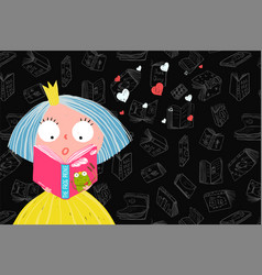 Cute girl reading book vector