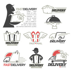 Delivery service mail food express online shop vector