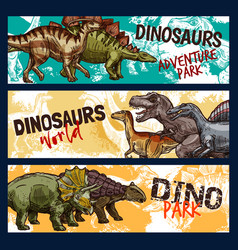 Dinosaur dino and jurassic monster banners vector