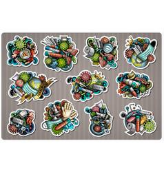Doodle cartoon set epidemic theme stickers vector