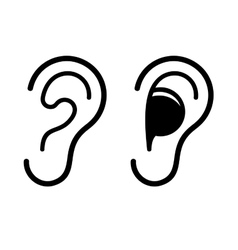 Ear and Earplug Icons Set vector image