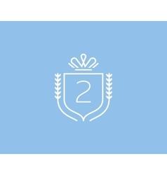 Elegant number 2 logotype Premium numeral crest vector