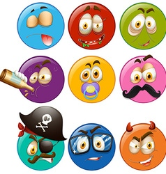 Facial expressions on round balls vector