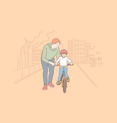fatherhood cycling childhood training concept vector image