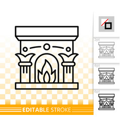fireplace simple open fire black line icon vector image