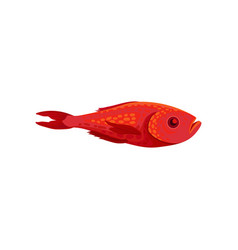 Flat icon of bright red fish side view vector