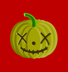 Flat on background of halloween pumpkin emotions vector
