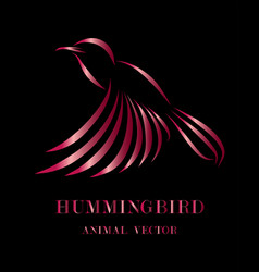 flying hummingbird line art eps 10 vector image