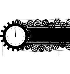 gears banner with clock vector image