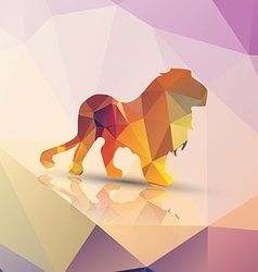 geometric polygonal lion pattern design vector image