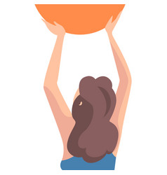 Girl holding orange ball back view young woman vector