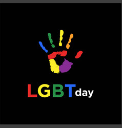 Hand rainbow colorful lgbt lesbian gay bisexual vector