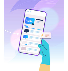 hand using mobile app for online reading news vector image