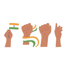 Happy independence day india raised hands with vector