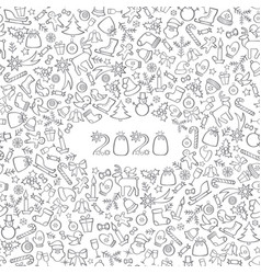 happy new year 2020 snow winter holiday calendar vector image